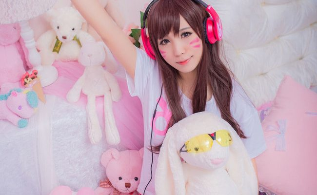 Casual D.Va Cosplay Kicks Back