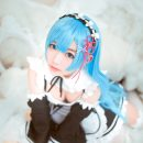Long-Haired Rem Cosplay Flowing & Beautiful